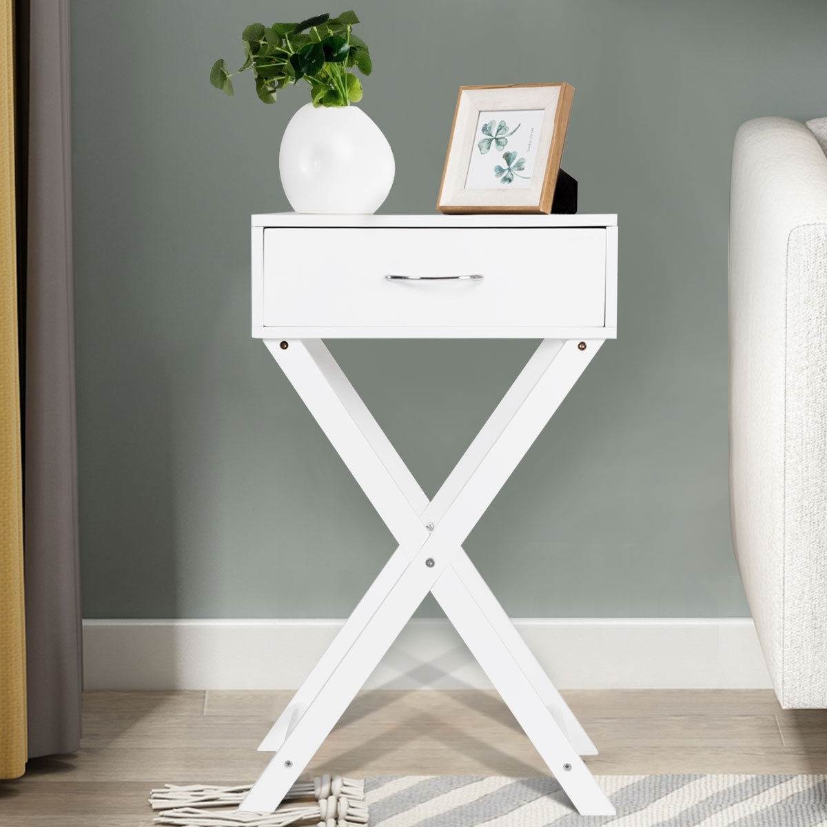 Primary image for Campaign Style Modern X-Shape Accent Side End Table-White