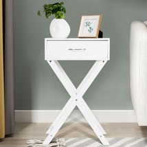 Campaign Style Modern X-Shape Accent Side End Table-White - $60.37