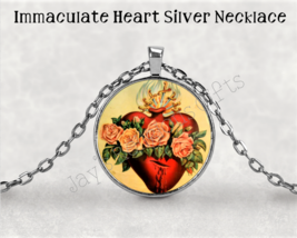 Immaculate Heart of Mary Necklace Pendant - Religious Saint Silver 1 inc... - $7.95