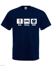 Mens T-Shirt Quote Eat Sleep EMS, Emergency Medical Service Hospital Tshir - $24.74