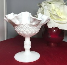 """Fenton OVG Olde Virginia White Milk Glass Ruffled Compote Diamond Quilted 6"""" NEW - $20.50"""
