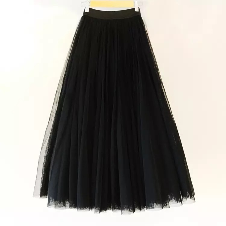 Black long tulle skirt 1