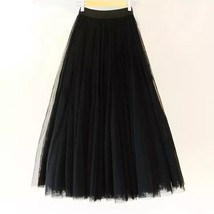 Women Black MAXI TULLE SKIRTS Black Plus Size Full Maxi Tulle Skirt image 1