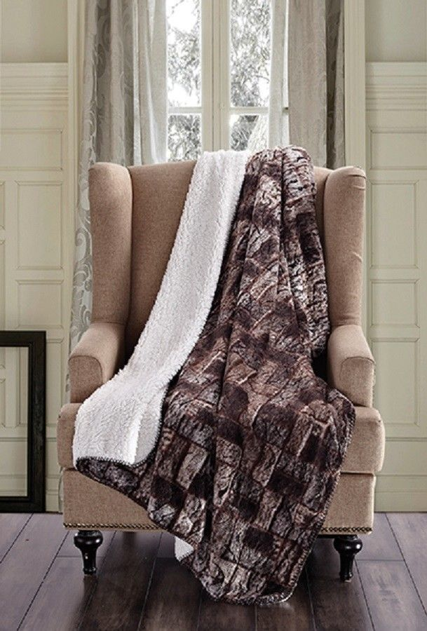 Primary image for BROWN TIMBER BRICK Soft Sherpa Luxury Throw Light Weight Blanket 50 in x 70 in