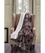 BROWN TIMBER BRICK Soft Sherpa Luxury Throw Light Weight Blanket 50 in x... - $35.95