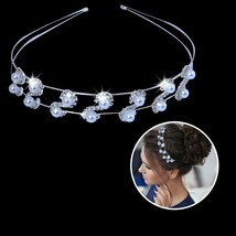 Women Sparkly Crystal Diamante Rhinestone Pearl Hair Tiara Party Prom He... - $9.33