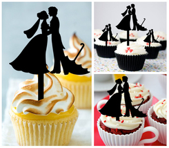 Wedding,Birthday Cupcake topper,silhouette Married and Couple Umbrella : 10 pcs - $10.00