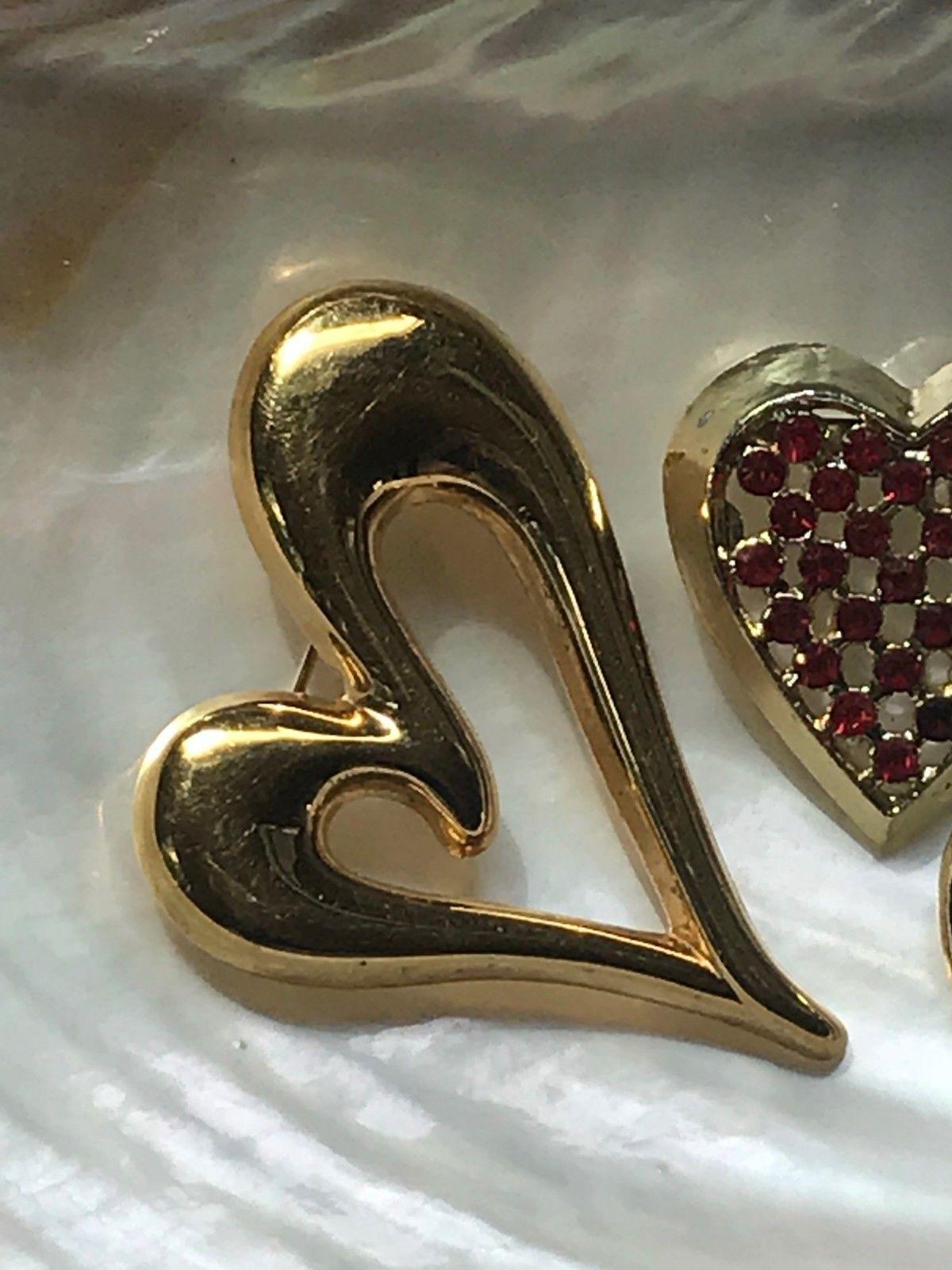 Vintage Lot of 3 Avon Signed Goldtone Slanted Red Rhinestone Encrusted Valentine image 3