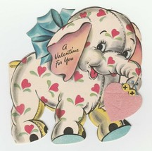 Vintage Valentine Card Stuffed Toy Elephant Hallmark 1946 Flocked Die-Cut - $7.91