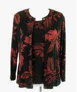 COLDWATER CREEK Size S 6 8 Skinky Knit Dark Floral Jacket & Tank Set - $27.99
