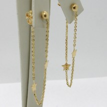 18K YELLOW GOLD PENDANT EARRINGS, ROLO CHAIN UNDER THE EARLOBE, DOUBLE STAR image 2