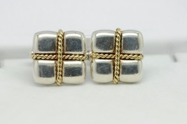 TIFFANY & CO. Sterling Silver and 18K Yellow Gold Square Cable Cuff Links - $230.00