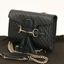 Auth GUCCI Black Micro GG GUCCISSIMA Emily Hobo Small Shoulder Bag MINT ... - $1,009.80