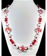 """24"""" Peppermint candy swirled red and white artglass bead winter necklace - $75.00"""