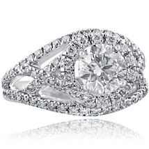2.16 TCW Round Cut Diamond Halo Engagement Ring 14K White Gold Split Shank - $5,810.31