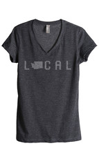 Thread Tank Local Washington State Women's Relaxed V-Neck T-Shirt Tee Charcoal - $24.99+