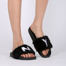 New Women Faux Fur NY - New York Open Toe Slip On Footbed Slide -17849 By Qupid image 6