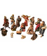 Faithful Treasure 15-Piece Nativity Figurine Set. Hand-Painted Christmas... - $62.46