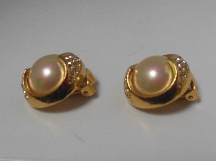Vintage Christian Dior Mother of Pearl Pave Rhinestone Clip-on Earrings