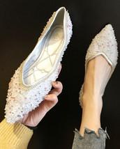 Sequin Gray Ballet Flats Slippers Shoes Evening flats Party flats Weddin... - £39.24 GBP
