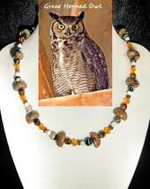 Great Horned Owl custom artisan handcrafted genuine onyx, shell, crystal... - $79.00