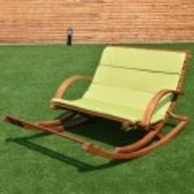 Home Garden Patio Lounge Chair Wood slat Porch 2 Person Rocking Furni Gr... - $299.99