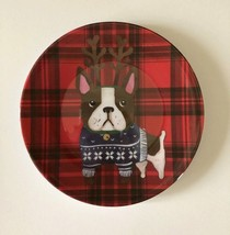"Boxer Dog Appetizer Tidbit Christmas Paid Melamine Plates 6"" set of 4 Do... - $24.63"