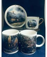 Thomas Kinkade 2 Coffee Mugs 2008 & Moonlight cottage decorative Teleflo... - $18.80