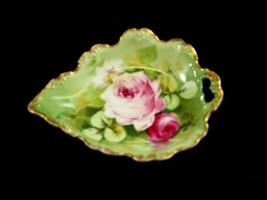 Blakeman & Henderson  Dish  Leaf Shaped Floral design Antique China - $54.45