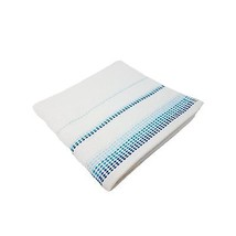 10 X Luxury Striped Bright 100% Combed Cotton Soft White Blue Hand Towels - $52.37