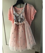 Size M cat & Jack little girls dress with matching sweater. Peach with - $9.89