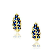 Stylish 14k Yellow Gold September Birthstone Sapphire Leaf Leverback Ear... - $147.49