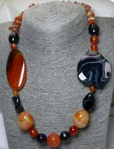 Red Carnelian Agate Black Onyx Large Bold Gemstone Beaded Necklace - $28.00