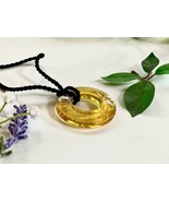 NEW Baccarat Yellow Volutes Pendant Necklace with Black Cord Retail $295 - $137.61