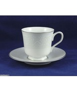 Footed Cup and Saucer Set Concerto Grace Porcelain China White Flowers o... - $4.95