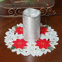 Doily Embroidered Poinsettia Doily, Round/ - $0.98