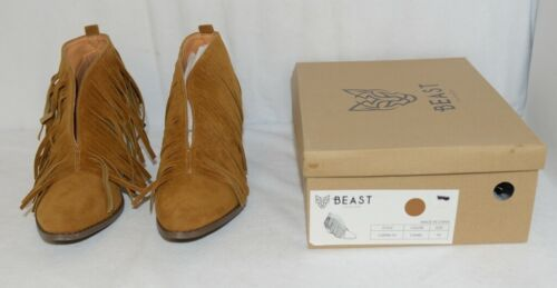 Beast Fashion Carrie 01 Camel Fringe Slip On Shoes Size Ten