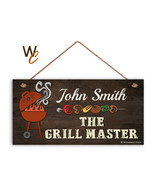 The Grill Master Sign, BBQ Personalized Sign, Custom Name Change, Gift F... - $17.77