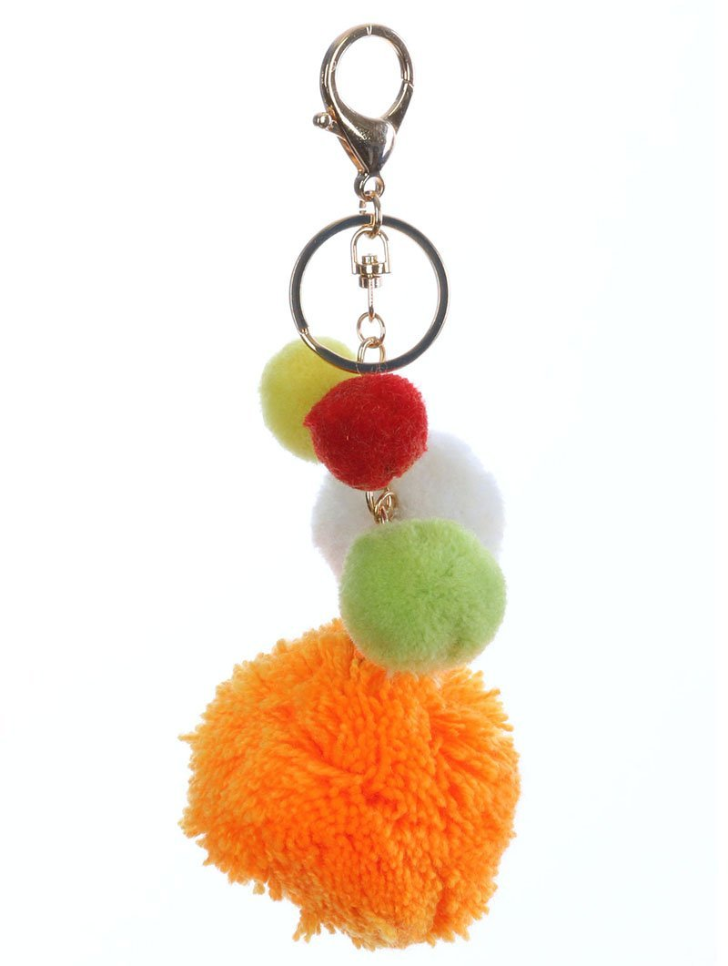 Pom Pom Key Chain Handbag Charm Poms Key Fob Charm (Orange Multi)