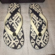 Nib Tory Burch Printed Cut-Out Wedge FLIP-FLOP In Perfect Ivory/ Tapestry Geo 9 - $64.15