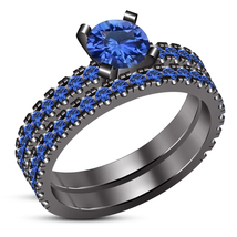 14K Black Gold Finish 1.20 Ct Blue Sapphire Engagement Wedding Ring Brid... - $96.99