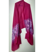 scarf shawl neck wrap 100% wool dark pink fine quality+1 pc complementa... - $40.87
