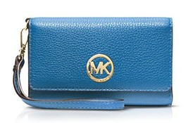 Michael Kors Fulton Multi-Function Phone Wristlet Wallet Leather Blue - £75.67 GBP
