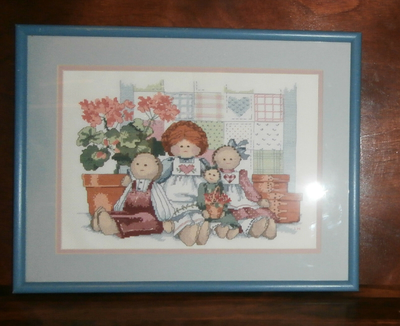 "Primary image for  Family of Dolls Finished and Framed Cross Stitch 15"" x 19""  Barbara Mock"