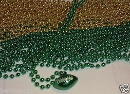 Green Gold Football Pendant Bead Beads Necklace Packers Fans - $22.32 CAD