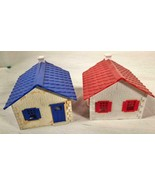 2 VINTAGE PLASTICVILLE O SCALE CAPE COD HOUSES RED & BLUE - $25.73