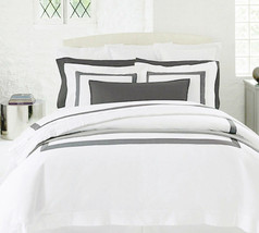 Sferra ORLO F/Queen Duvet Cover White/Grey Banded Egyptian Cotton Percale New - $248.90