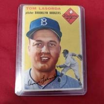 1954 Topps Tommy Lasorda Rookie Card #132 Brooklyn Dodgers - $215.04