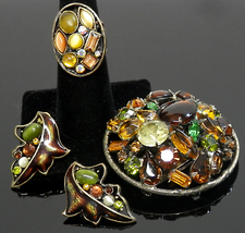 Vintage Brooch Demi Parure Set Ring Earrings & Pin Gold Plated Fruit Salad  - $25.00