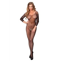 LA-8360 Sexy Women's Black Long Sleeve Fishnet Crotchless Bodystocking S... - $10.95